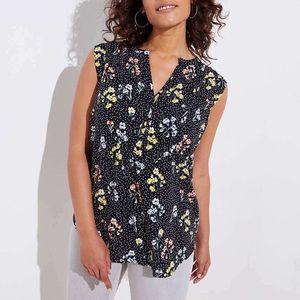 LOFT floral dot sleeveless blouse